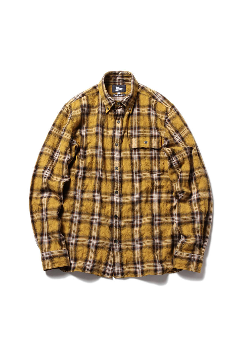 BUBBIE Button Down Plaid (MUSTARD)
