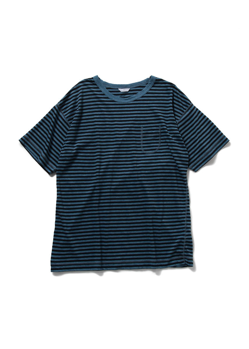 Drop Sholder Border T Shirt (BLUE/NAVY)