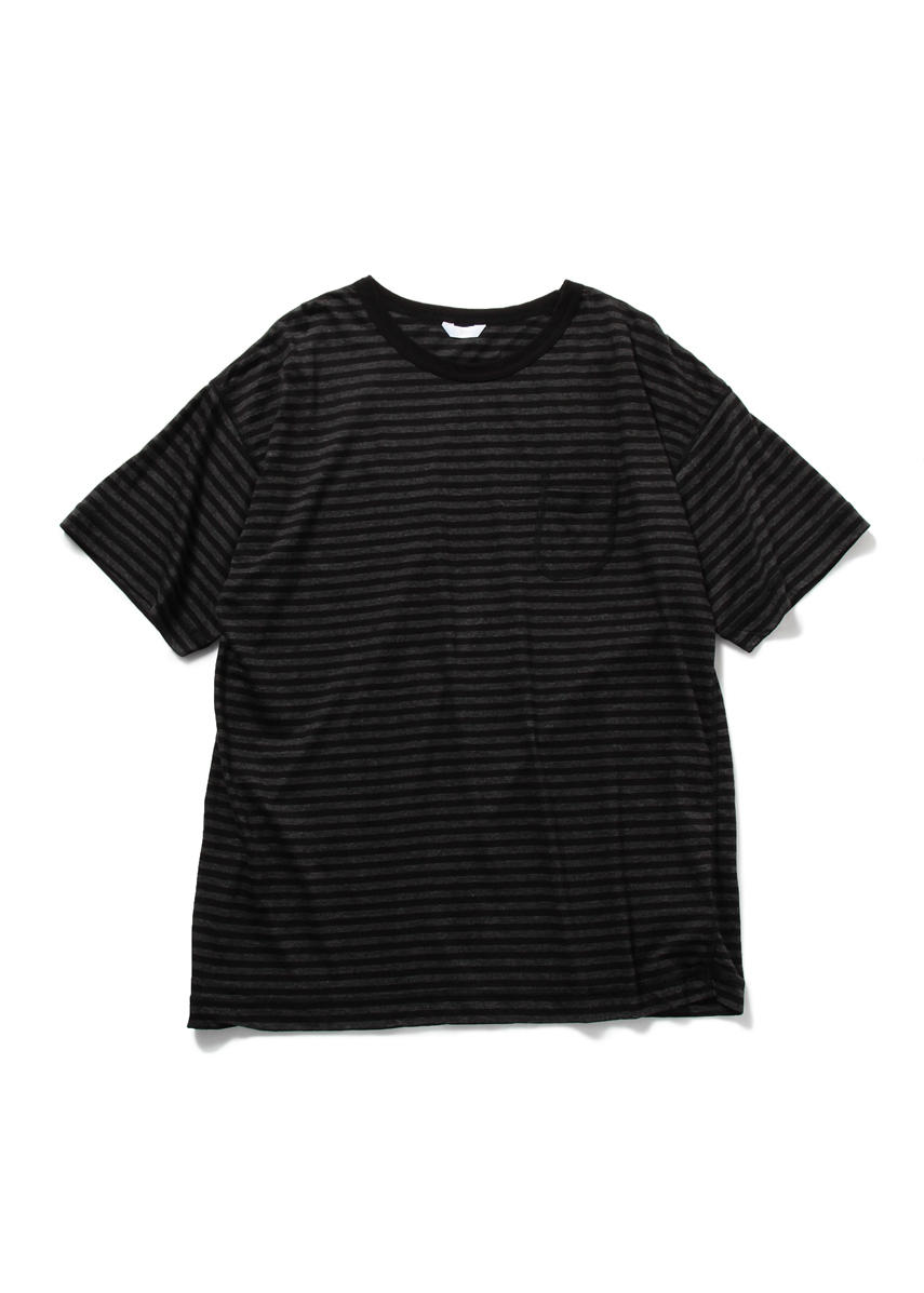 Drop Sholder Border T Shirt (CHARCOAL GREY/BLACK)