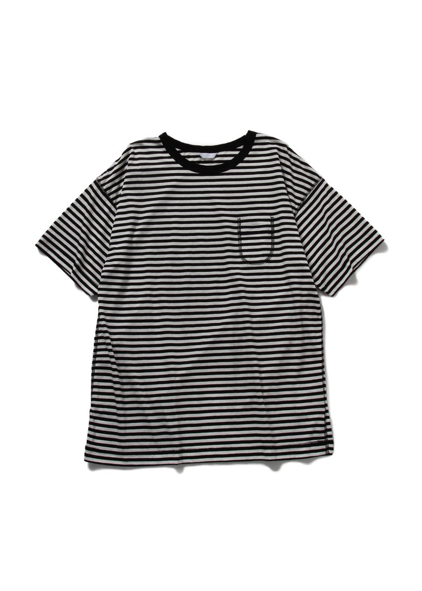 Drop Sholder Border T Shirt (WHITE/BLACK)