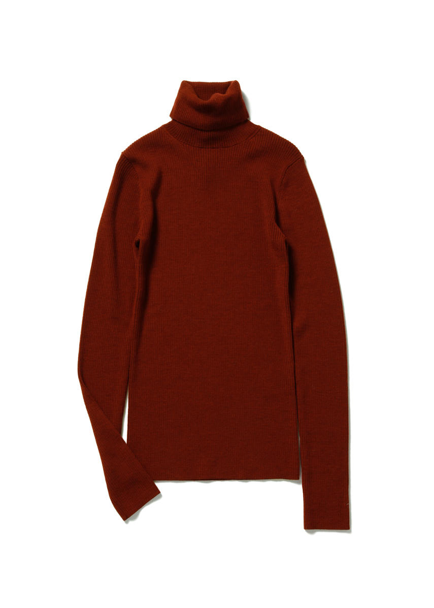 GILMORE Fine Rib Turtleneck (BRIQUE)